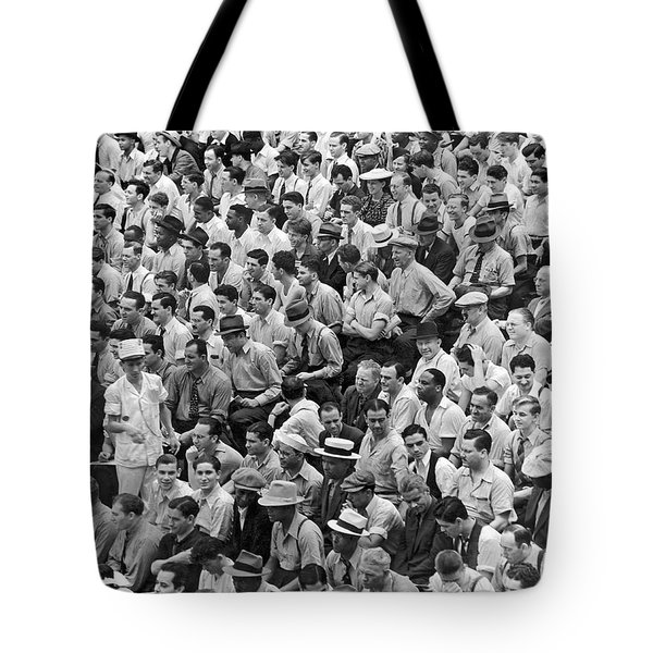 Baseball Fans In The Bleachers At Yankee Stadium. Tote Bag