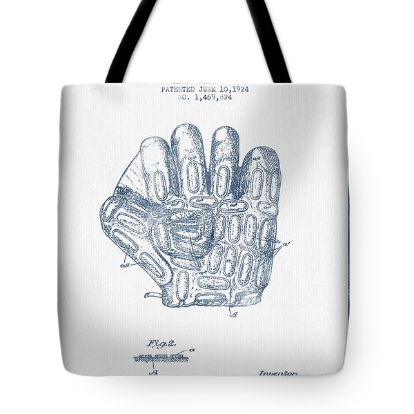 Baseball Glove Patent Drawing From 1924 - Blue Ink Tote Bag