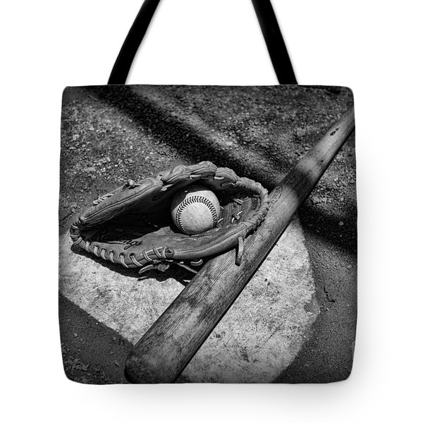 Baseball Home Plate In Black And White Tote Bag by Paul Ward