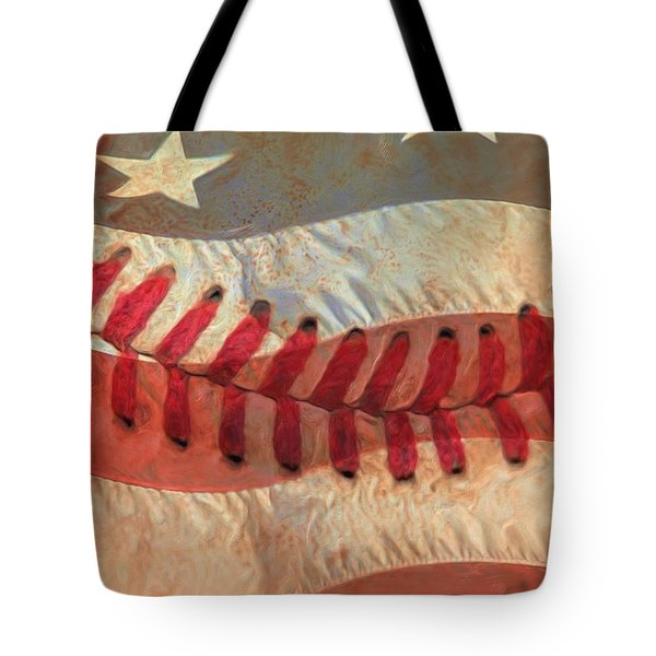 Baseball Is Sewn Into The Fabric Tote Bag