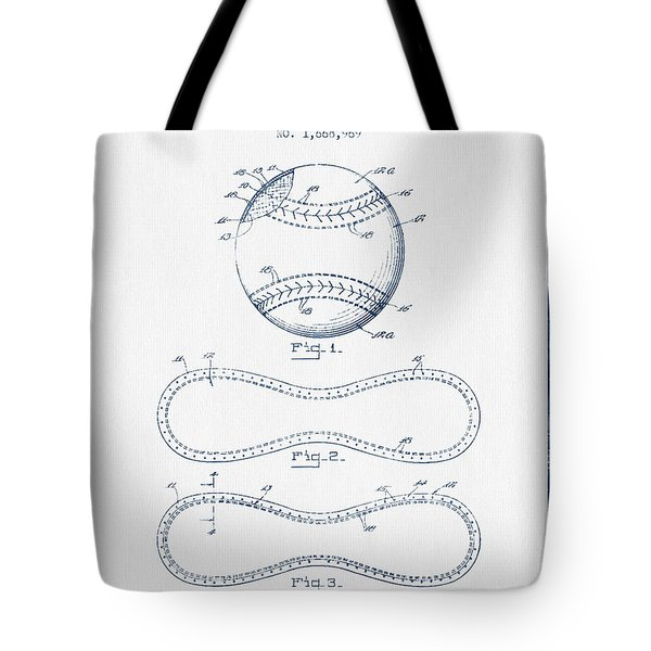 Baseball Patent Drawing From 1928 - Blue Ink Tote Bag
