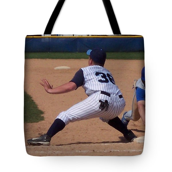 Baseball Pick Off Attempt Tote Bag by Thomas Woolworth