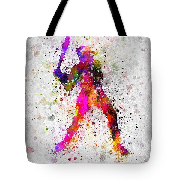 Baseball Player - Holding Baseball Bat Tote Bag by Aged Pixel