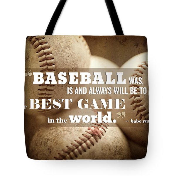 Baseball Print With Babe Ruth Quotation Tote Bag