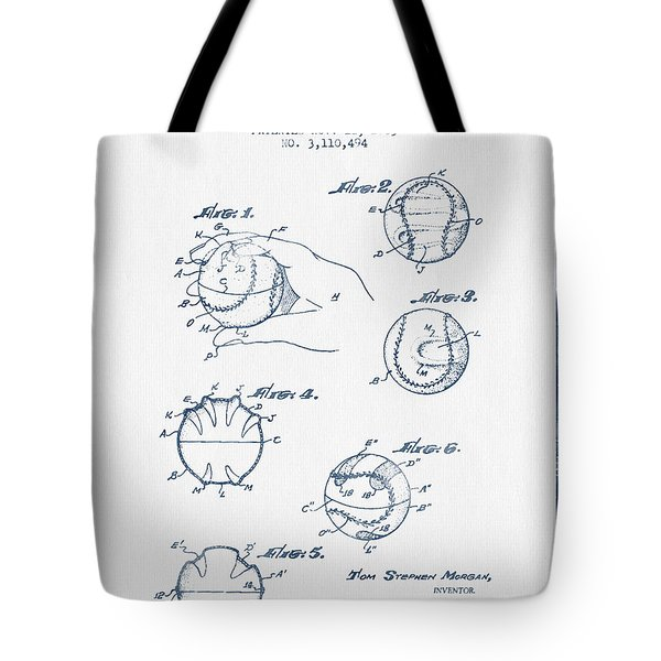 Baseball Training Device Patent Drawing From 1963 - Blue Ink Tote Bag