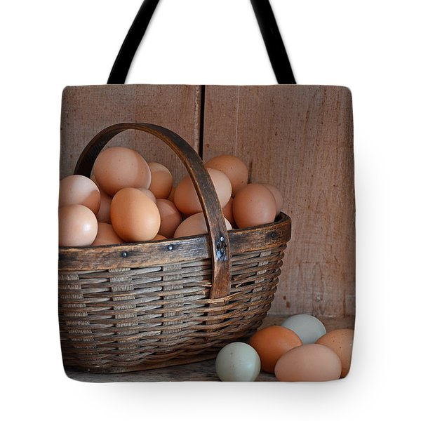 Basket Full Of Eggs Tote Bag by Mary Carol Story