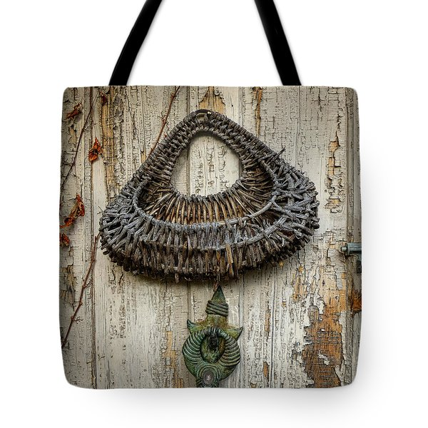 Basket On Weathered Door Tote Bag