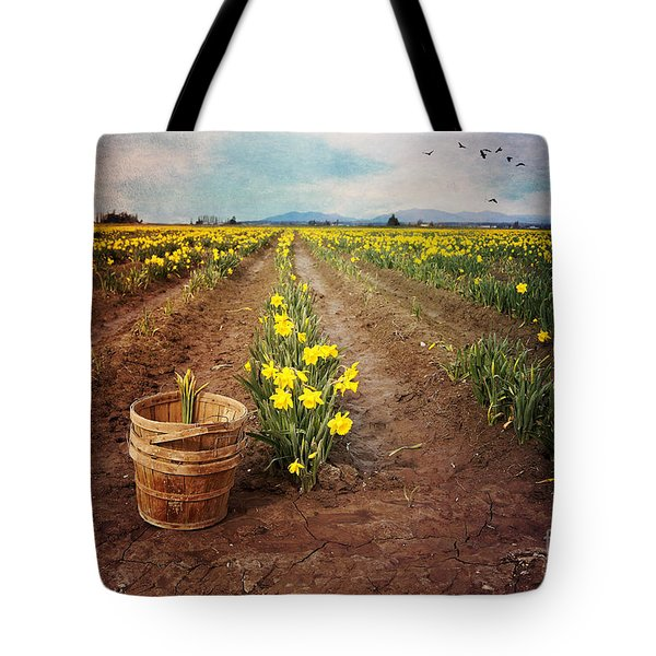 Tote Bag featuring the photograph basket with Daffodils by Sylvia Cook