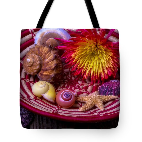 Basket With Mum And Sea Shells Tote Bag