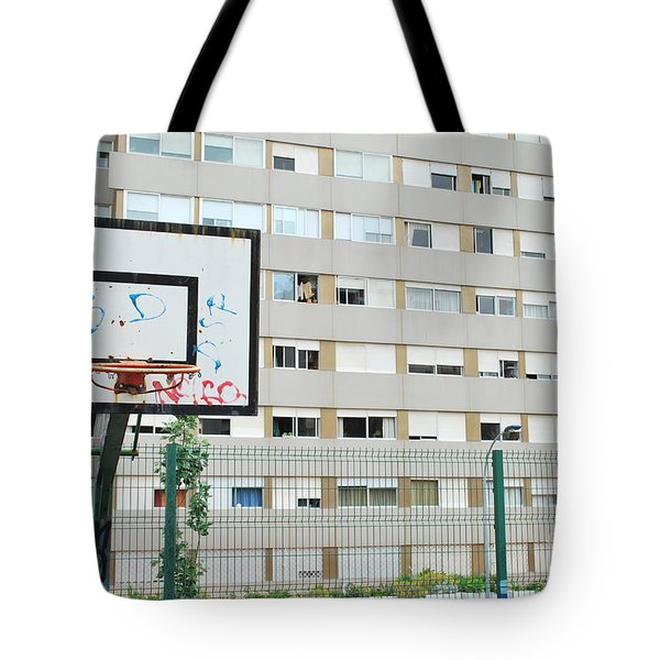 Basketball Court In A Social Neighbourhood Tote Bag by Luis Alvarenga