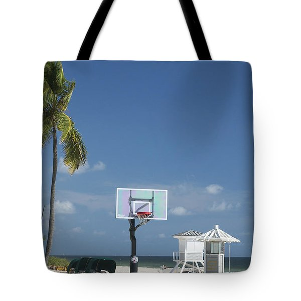 Basketball Goal On The Beach Tote Bag