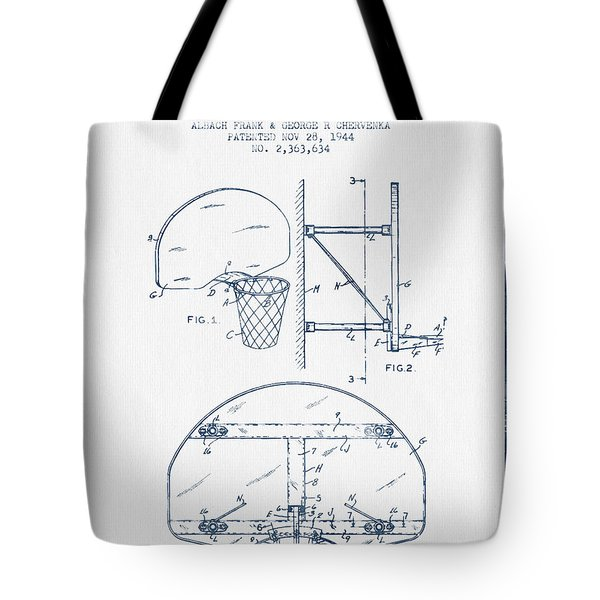 Basketball Goal Patent From 1944 - Blue Ink Tote Bag by Aged Pixel