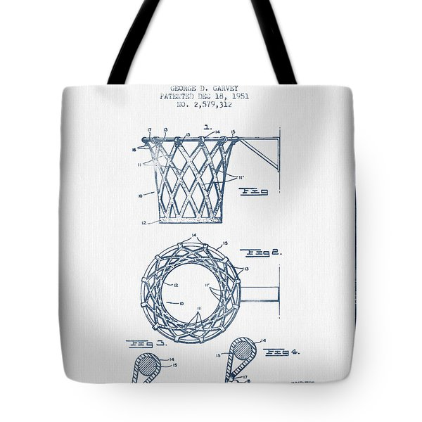 Basketball Goal Patent From 1951 - Blue Ink Tote Bag by Aged Pixel