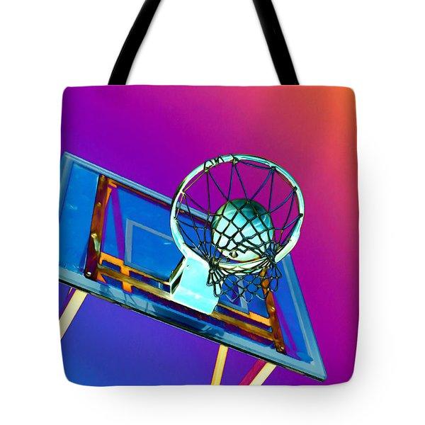 Basketball Hoop And Basketball Ball Tote Bag by Lanjee Chee