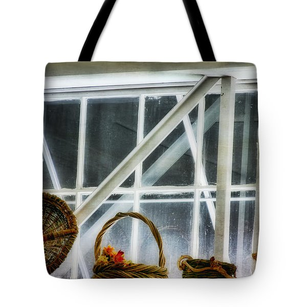 Baskets In The Window Tote Bag by Joan Bertucci