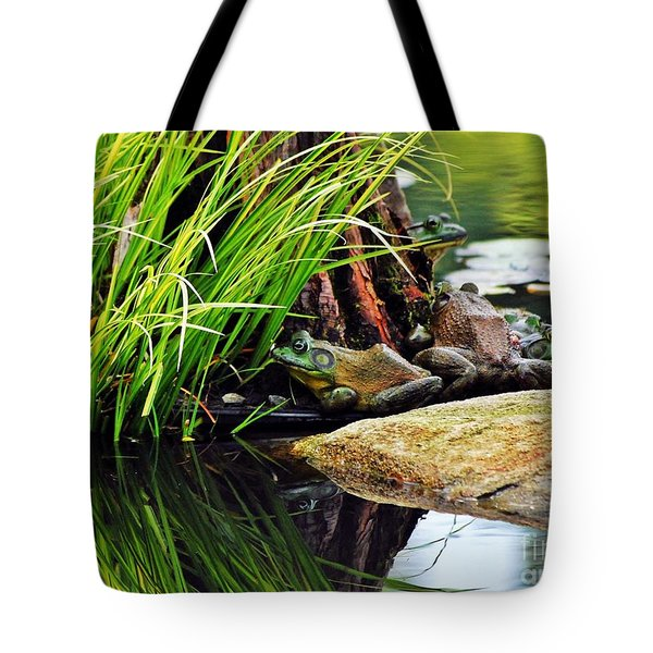 Basking Bullfrogs Tote Bag by Angela Murray