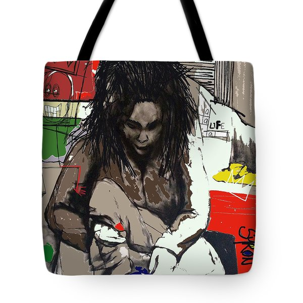 Tote Bag featuring the drawing Basquiat by Helen Syron