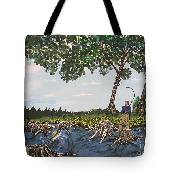 Bass Fishing In The Stumps Tote Bag by Jeffrey Koss