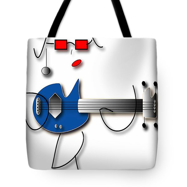 Tote Bag featuring the digital art Bass Guitar Girl by Marvin Blaine