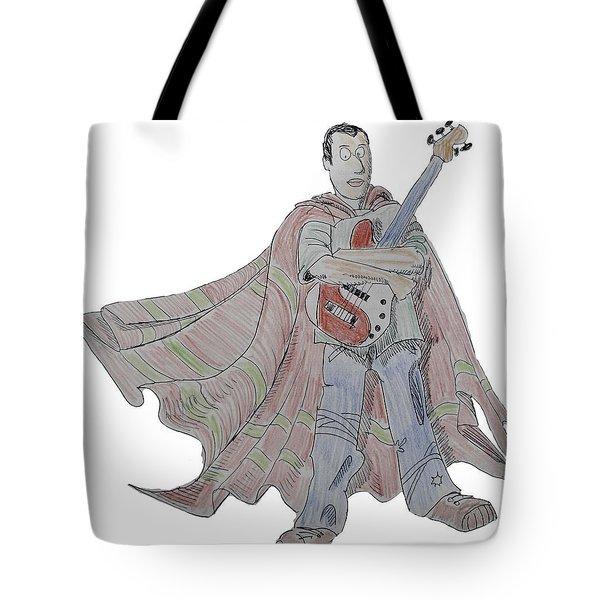 Bass Guitarist Cartoon Tote Bag
