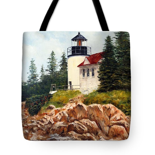 Tote Bag featuring the painting Bass Harbor Head Light by Lee Piper