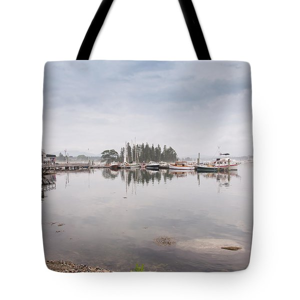 Bass Harbor In The Morning Fog Tote Bag by John M Bailey