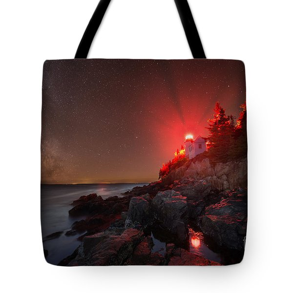 Bass Harbor Lighthouse Milky Way Tote Bag