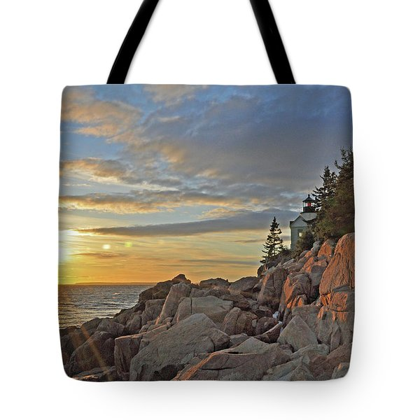 Bass Harbor Lighthouse Sunset Landscape Tote Bag by Glenn Gordon