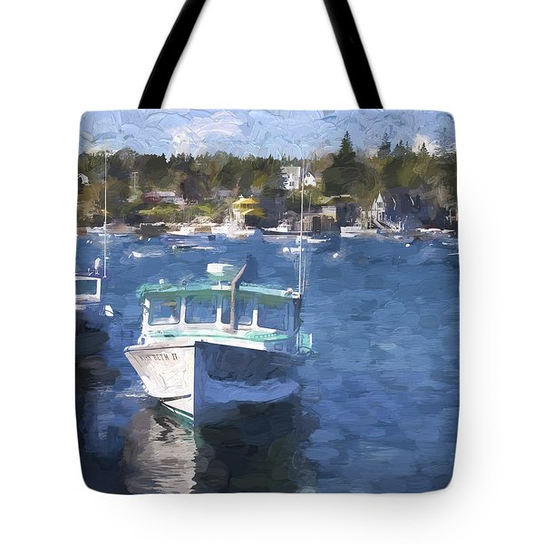 Bass Harbor Maine Painterly Effect Tote Bag