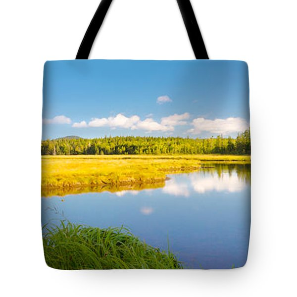 Bass Harbor Marsh Panorama Acadia National Park Photograph Tote Bag