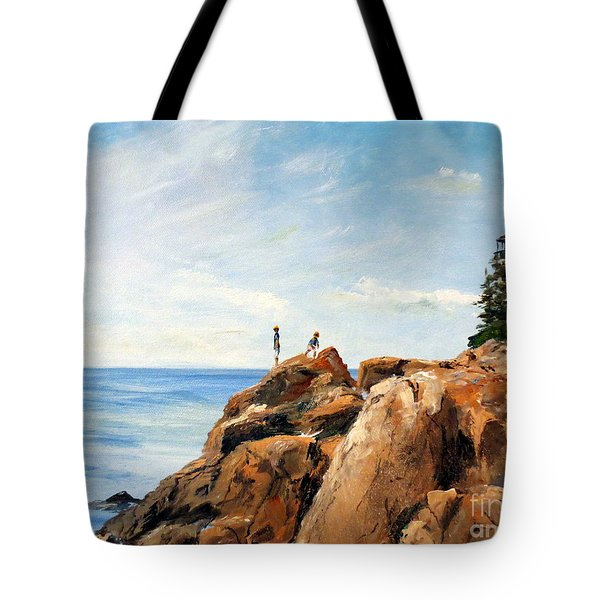 Tote Bag featuring the painting Bass Harbor Rocks by Lee Piper