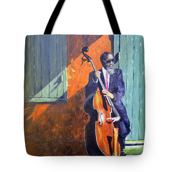 Bass Player In New Orleans Tote Bag by Barbara Jacquin