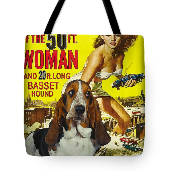 Basset Hound Art Canvas Print - Attack Of The 50ft Woman Movie Poster Tote Bag