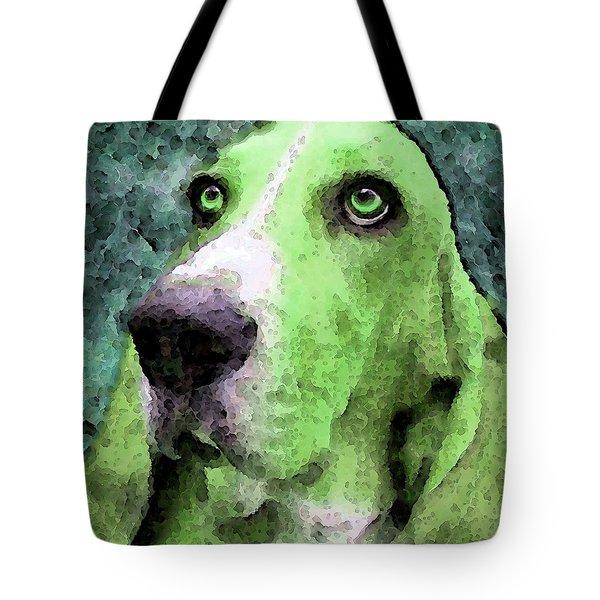 Basset Hound - Pop Art Green Tote Bag by Sharon Cummings