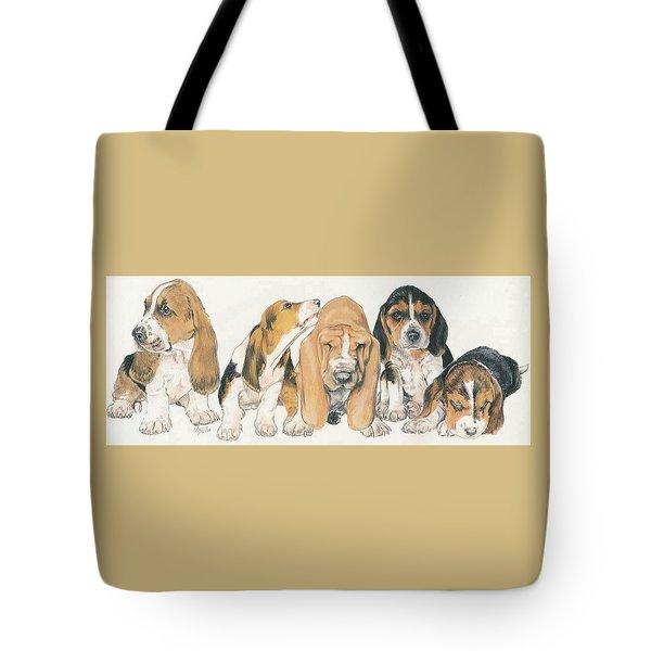 Basset Hound Puppies Tote Bag by Barbara Keith