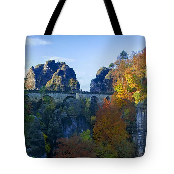 Bastei Bridge In The Elbe Sandstone Mountains Tote Bag