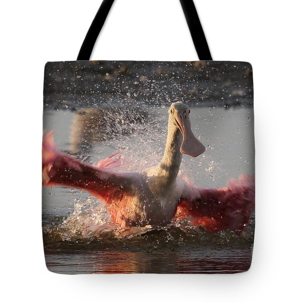 Bath Time - Roseate Spoonbill Tote Bag
