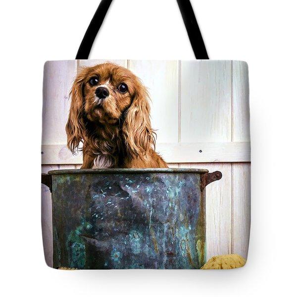 Bath Time - King Charles Spaniel Tote Bag by Edward Fielding