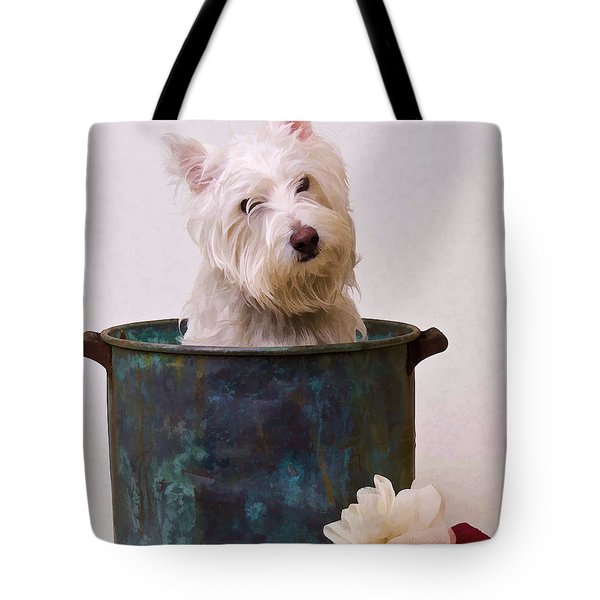 Bath Time Westie Tote Bag by Edward Fielding