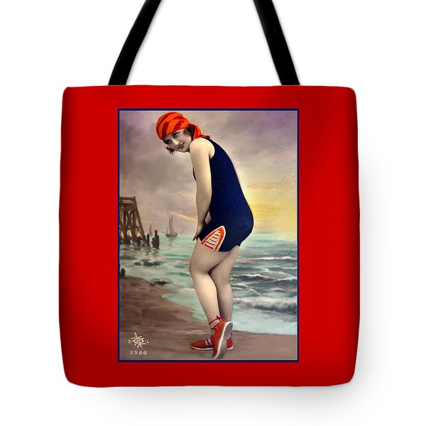 Bathing Beauty In Orange And Navy Bathing Suit Tote Bag