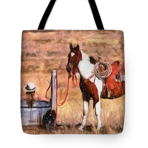 Bathing Cowgirl Tote Bag by Murphy Elliott