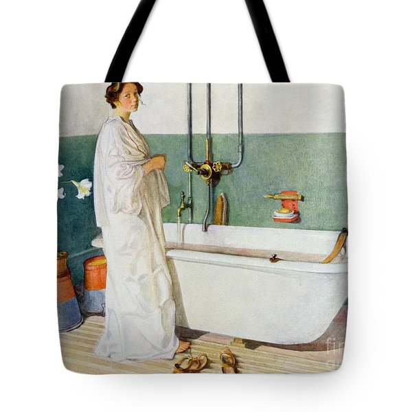 Bathroom Scene Lisbeth Tote Bag by Carl Larsson