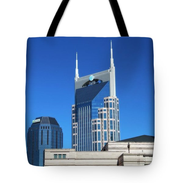 Batman Building And Nashville Skyline Tote Bag by Dan Sproul