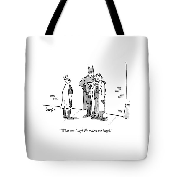Batman, With His Arm Around The Joker, Speaking Tote Bag