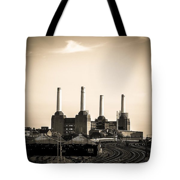 Battersea Power Station With Train Tracks Tote Bag