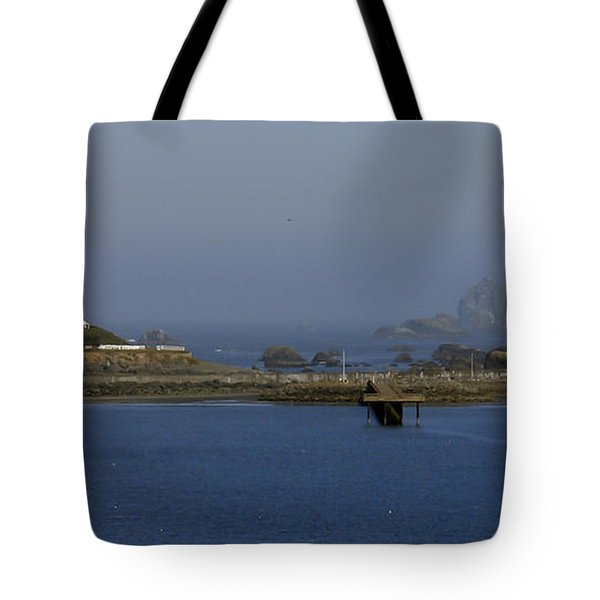 Battery Point Lighthouse And Castle Rock Tote Bag by Betty Depee