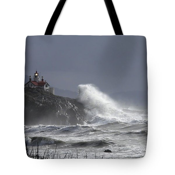 Tote Bag featuring the photograph Battery Point Storm by Betty Depee