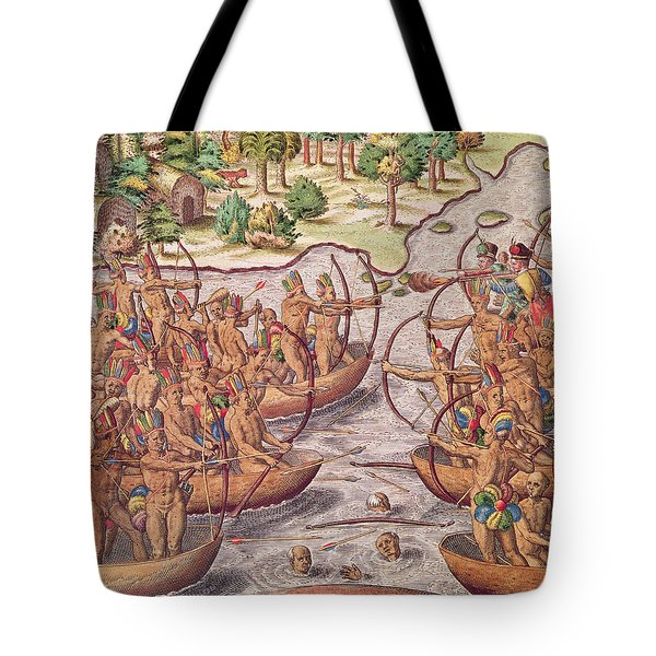 Battle Between Indian Tribes Tote Bag by Jacques Le Moyne
