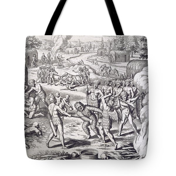 Battle Between Tuppin Tribes Tote Bag by Theodore De Bry