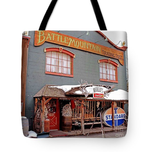 Tote Bag featuring the photograph Battle Mountain Trading Post by Fiona Kennard